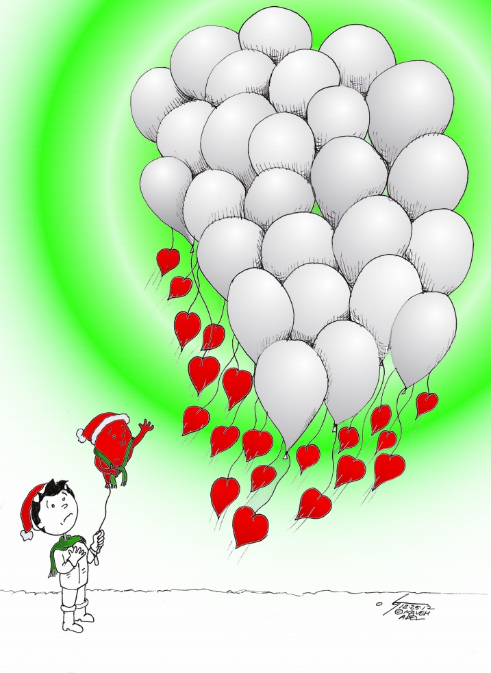 "Cartoon ""Boy and Red balloon Remember 26 white balloons"" 2012 Iranian American Cartoonist Kaveh Adel"